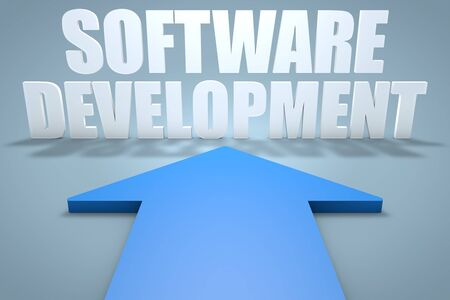 Software Development - 3d render concept of blue arrow pointing to text. 写真素材 - 128060152