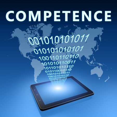 Competence - text with tablet computer on blue digital world map background. 3D Render Illustration. 写真素材 - 128059914