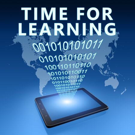 Time for learning - text with tablet computer on blue digital world map