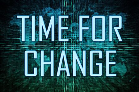 Time for Change text concept on green world map