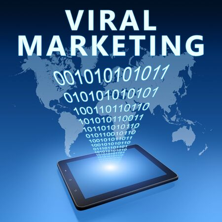 Viral Marketing - text with tablet computer on blue digital world map 写真素材 - 128059923