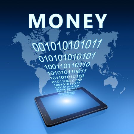 Money - text with tablet computer on blue digital world map 写真素材