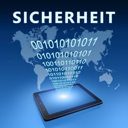 Sicherheit - german word for safety or security - text with tablet computer on blue digital world map 写真素材 - 128059928
