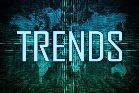 Trends text concept on green world map 写真素材 - 128059932