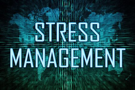 Stress Management text concept on green world map 写真素材 - 128059776
