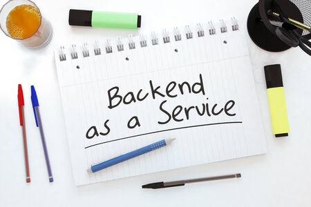 Backend as a Service - handwritten text in a notebook on a desk 写真素材 - 128059773