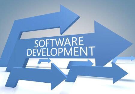 Software Development - text concept with blue arrows on a blue and grey 写真素材 - 128059775