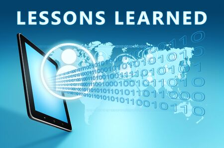 Lessons learned - text with social icons and tablet computer on blue digital world map Stock Photo