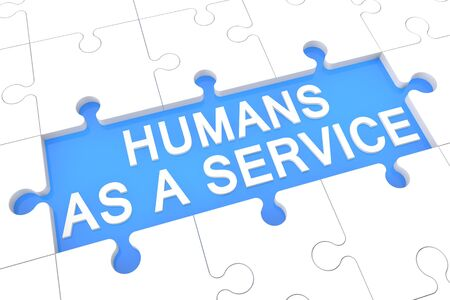 Humans as a Service - puzzle  render   with word on blue