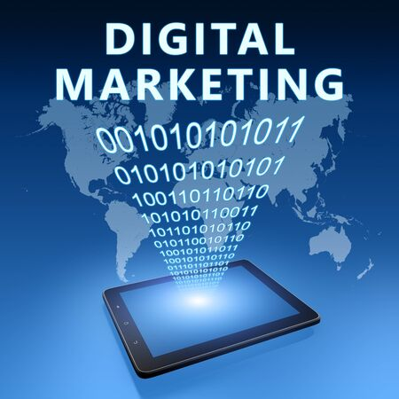 Digital Marketing - text with tablet computer on blue digital world map 写真素材