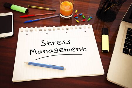 Stress Management - handwritten text in a notebook on a desk 写真素材 - 128059790