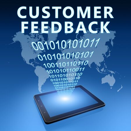 Customer Feedback - text with tablet computer on blue digital world map 写真素材 - 128059670