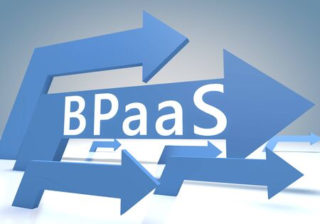 BPaaS - Business Process as a Service - text concept with blue arrows 写真素材 - 128059675