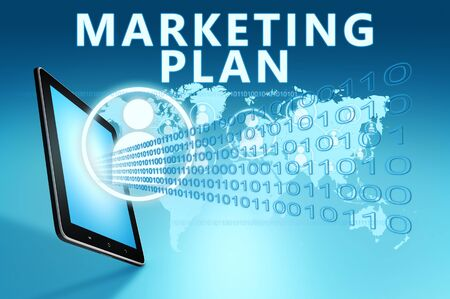Marketing Plan - text with social icons and tablet computer on blue digital world map