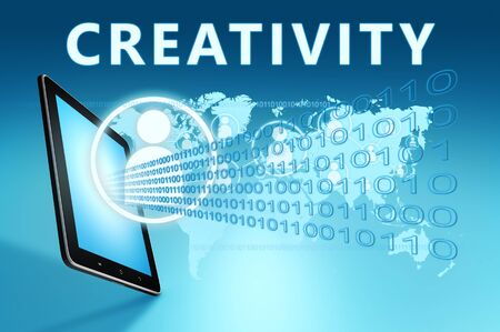 Creativity - text with social icons and tablet computer on blue digital world map