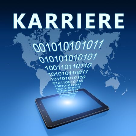 Karriere - german word for career - text with tablet computer on blue digital world map background. 3D Render Illustration. 写真素材 - 128059685