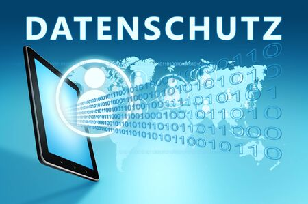 Datenschutz - german word for protection of data privancy - text with social icons and tablet computer on blue digital world map 写真素材
