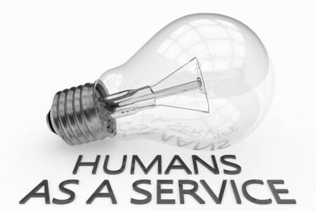 Humans as a Service - light bulb on white   with text under it. 写真素材