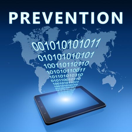 Prevention - text with tablet computer on blue digital world map 写真素材 - 128059694