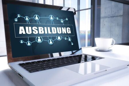 Ausbildung - german word for education or training - text on modern laptop screen in office environment. 写真素材 - 128059696