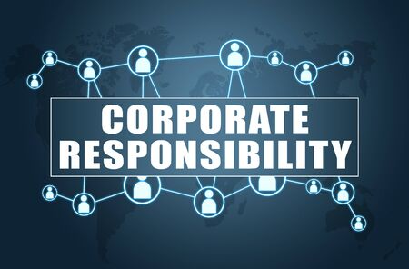Corporate Responsibility - text concept on blue background with world map and social icons.
