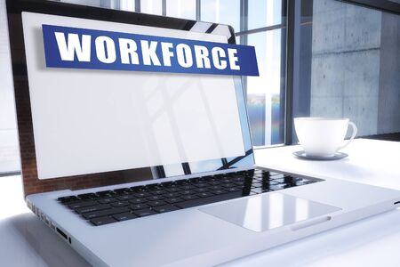 Workforce text on modern laptop screen in office environment. 3D render illustration business text concept. Stock Photo