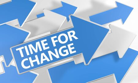 Time for Change text concept with blue and white arrows flying over a white background. 3D render illustration.