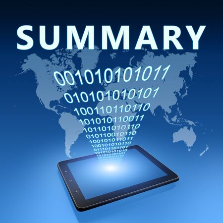 Summary - text with tablet computer on blue digital world map background. 3D Render Illustration.