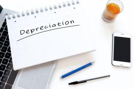 Depreciation - handwritten text in a notebook on a desk - 3d render illustration. Фото со стока