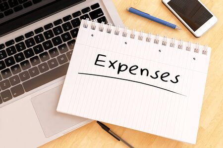 Expenses - handwritten text in a notebook on a desk - 3d render illustration. 写真素材