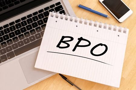 BPO - Business Process Outsourcing - handwritten text in a notebook on a desk - 3d render illustration.