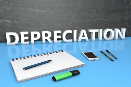 Depreciation - text concept with chalkboard, notebook, pens and mobile phone. 3D render illustration.