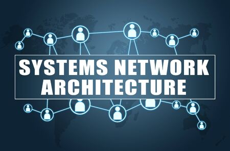 Systems Network Architecture - text concept on blue background with world map and social icons. 스톡 콘텐츠