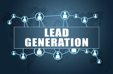 Lead Generation - text concept on blue background with world map and social icons. Stock Photo