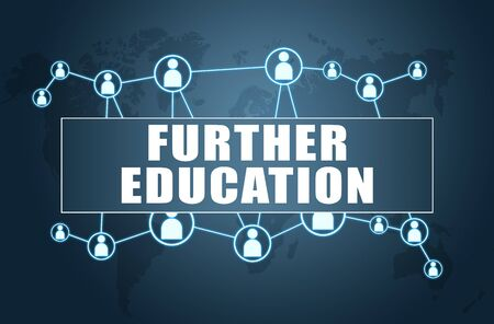 Further Education text with world map and social icons