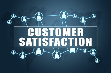 Customer Satisfaction text with world map and social icons 写真素材