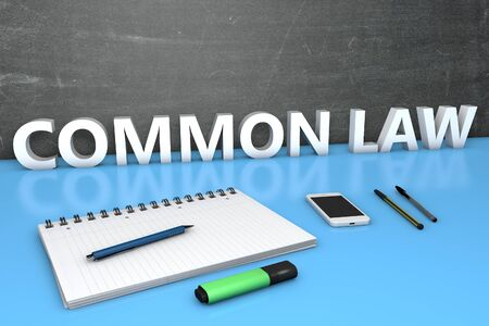 Common Law - text concept with chalkboard, notebook, pens and mobile phone. 3D render illustration.