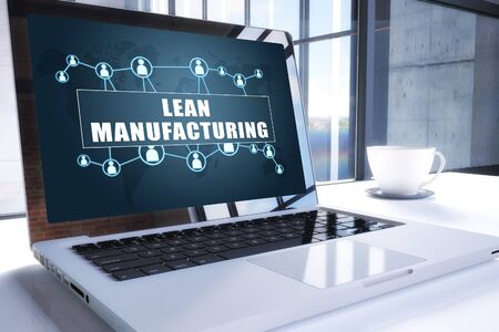 Lean Manufacturing text on modern laptop screen in office environment 写真素材