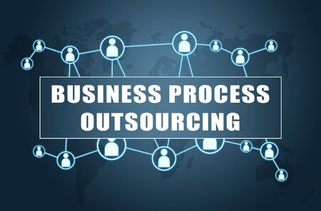 Business Process Outsourcing text with world map and social icons 写真素材