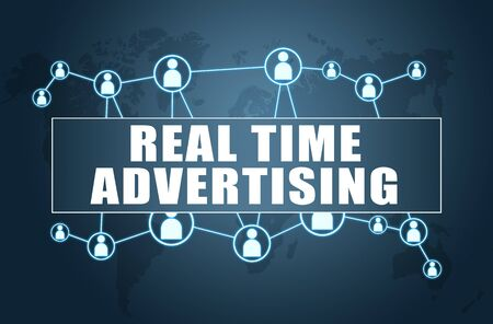 Real Time Advertising text with world map and social icons
