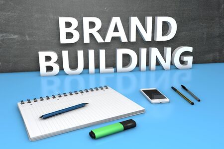 Brand Building - text concept with chalkboard, notebook, pens and mobile phone. 3D render illustration.