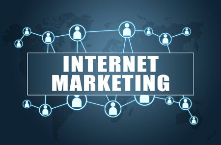 Internet Marketing - text concept on blue background with world map and social icons. 写真素材