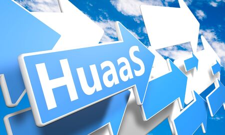 HuaaS - Humans as a Service - text concept with blue and white arrows flying in a blue sky with clouds - 3d render illustration 写真素材