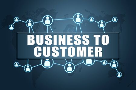 Business to Customer text with world map and social icons