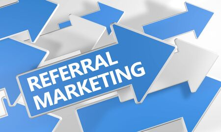 Referral Marketing text concept with blue and white arrows flying over a white