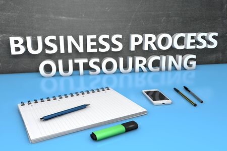 Business Process Outsourcing - text concept with chalkboard, notebook, pens and mobile phone. 3D render illustration. 写真素材
