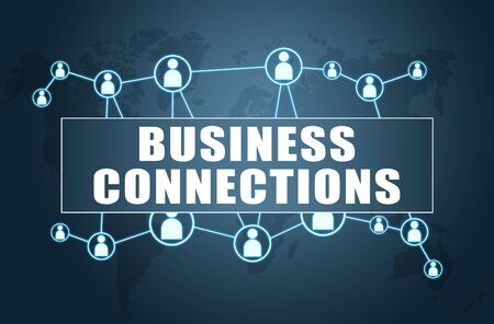Business Connections text with world map and social icons