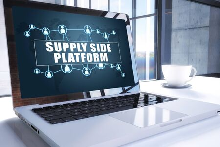Supply Side Platform text on modern laptop screen in office environment. 写真素材