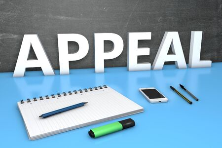 Appeal text with chalkboard, notebook, pens and mobile phone.