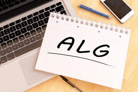 ALG - Arbeitslosengeld - german word for unemployment benefit or dole money - handwritten text in a notebook on a desk - 3d render illustration. 写真素材